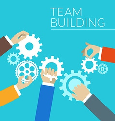 Flat design concept for team building hands with vector