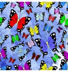 Abstract butterfly with blue and cyan blots vector