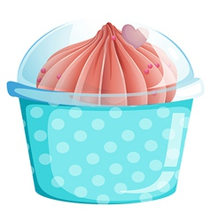 A blue cupcake container with a cupcake vector