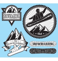 Set of templates for extreme snowboarding vector
