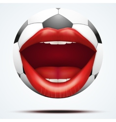 Football ball with a talking female mouth vector