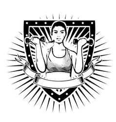 Fitness woman shield vector