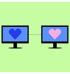 Virtual love in flat style vector