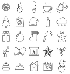 Winter line icons on white background vector