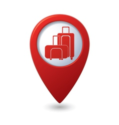 Suitcases icon red map pointer vector