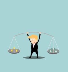 Businessman balance idea and money in hands vector