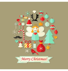Merry christmas card with flat icons set vector