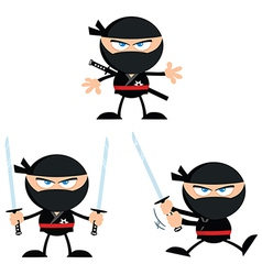 Set of cartoon ninjas vector