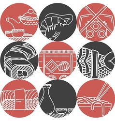 Asian food black and red icons vector