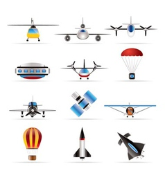 Different types of aircraft s and icon vector
