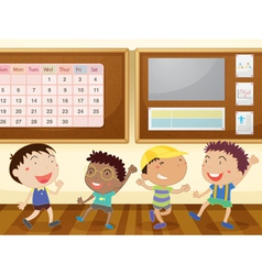 Boys in classroom vector