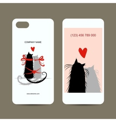 Mobile phone cover back and screen love cats for vector
