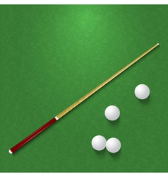 Cue and balls on the pool table vector