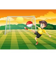 A player kicking the ball with the flag of vector