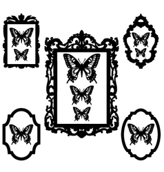 Butterflies in vintage picture frames vector