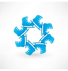 Circle of blue skates vector