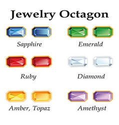 Jewelry octagon isolated objects vector