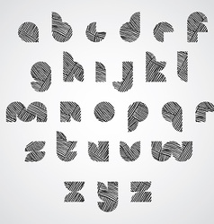 Simple shape letters font with hand drawn lines vector