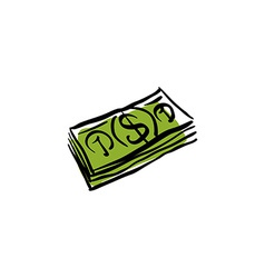 Green money packet icon hand drawn bundle of money vector