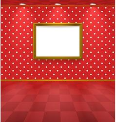 Polka dot room with frame vector