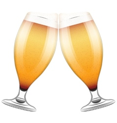 Two beer glasses clink vector