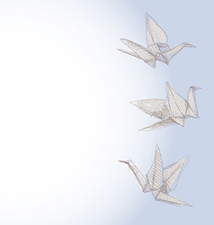 Origami crane sketch - symbol of faith hope and vector