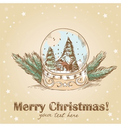 Christmas hand drawn postcard with cute glass ball vector