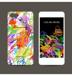 Mobile phone cover back and screen children vector