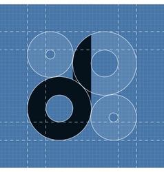Round engineering font symbol d vector
