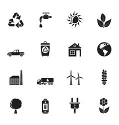 Silhouette ecology and environment icons vector
