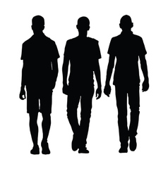 Man walking three black silhouette vector