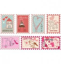Wedding stamps vector