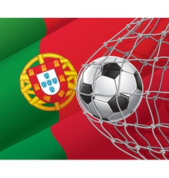 Soccer goal and portugal flag vector