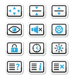 Computer tv monitor screen icons set vector