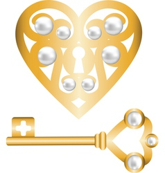 Gold heart lock and key with pearl vector