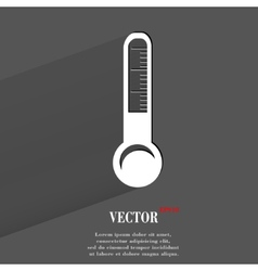 Thermometer flat modern web button with long vector