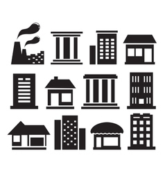 Set urban building icons vector