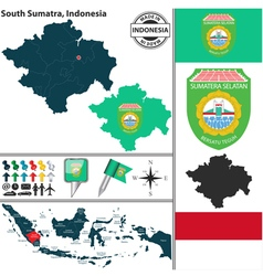 Map of south sumatra vector