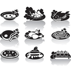Hot dishes desserts sushi salads and soups vector