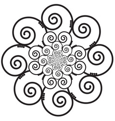 Indian henna tattoo swirly flower inspired vector