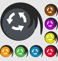 Refresh icon sign symbol on eight colored buttons vector