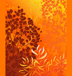 Orange background with bright autumn aspens and de vector