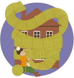Woman knitting a scarf for a house keeping it warm vector
