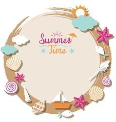 Sea shell and summer objects icons wreath vector