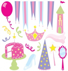 Girls princess party vector