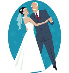 Father of the bride waltzing with his daughter vector