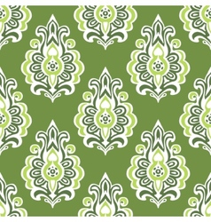 Green vintage seamless retro floral wallpaper vector