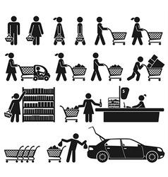 Men and women go shopping vector