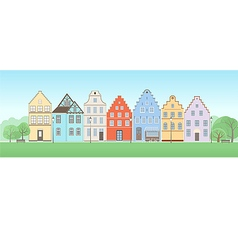 Facade of old houses vector
