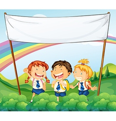 An empty banner above the three young students vector